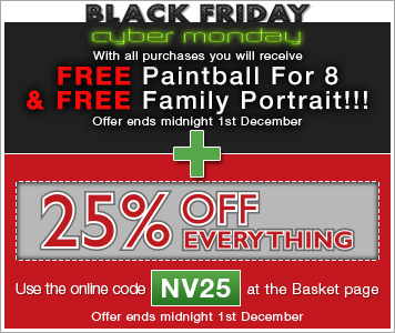 Free paintball for 8 and free family portrait plus get an extra 25% off everything - Use online code NV25