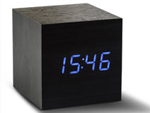 Cube Black Click Clock LED Blue