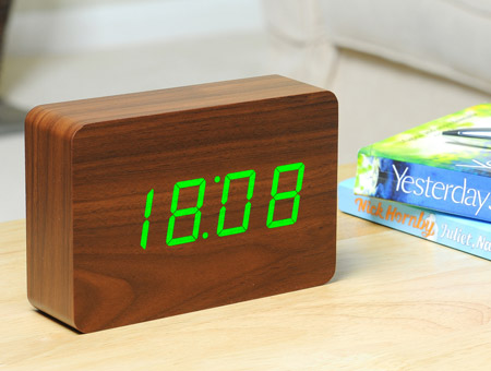 Image of Brick Walnut Click Clock LED Green