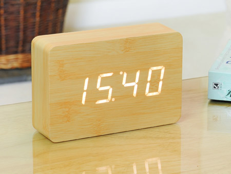 Image of Brick Beech Click Clock LED White