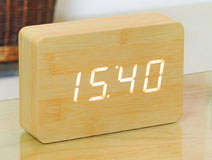 Brick Beech Click Clock LED White