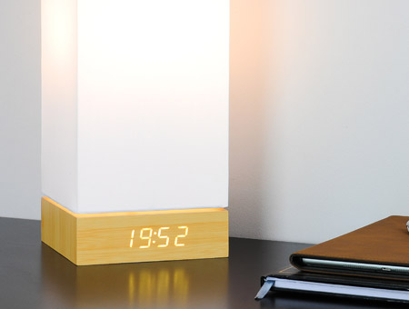 Beech Click Clock Lamp LED White