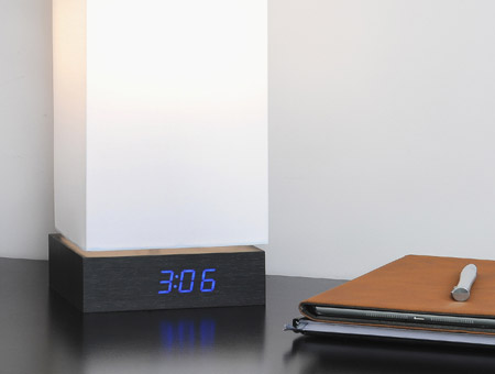 Black Click Clock Lamp LED Blue