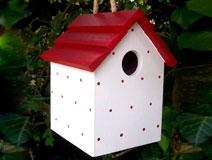 Handmade Hanging Red Polka Dot Bird House