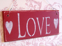 Antique Style Red 'Love' Plaque